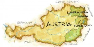 Austria Wine map illustration